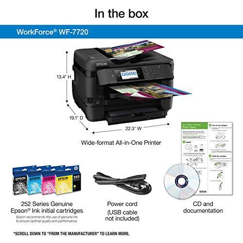 Epson WorkForce WF-7720 Impresora inalámbrica de inyección de tinta a color de gran formato con copia, escaneo, fax, Wi-Fi Direct y Ethernet, Amazon Dash Reabastecimiento listo