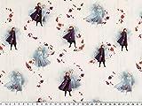 ab 1m: Baumwoll-Popeline, Eiskönigin, Digitaldruck weiß-violett breit