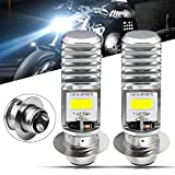 HONLEEX 2pcs AC9-48V H6M LED Headlight Bulbs 1600Lumens High Power 2xCOB Chips P15D-1 Motorcycle LED Headlight Bulb with High Low Beam.Xenon White.6500K(Silver)