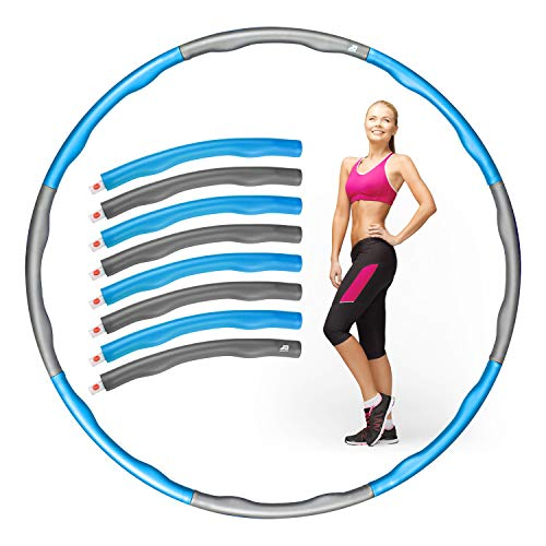 JB Sports® Hula Hoop Reifen Erwachsene – Verstellbare Größe für mehr Gewicht – [8] Teile – [2] Farbvarianten – Inklusive Aufbewahrungsbeutel