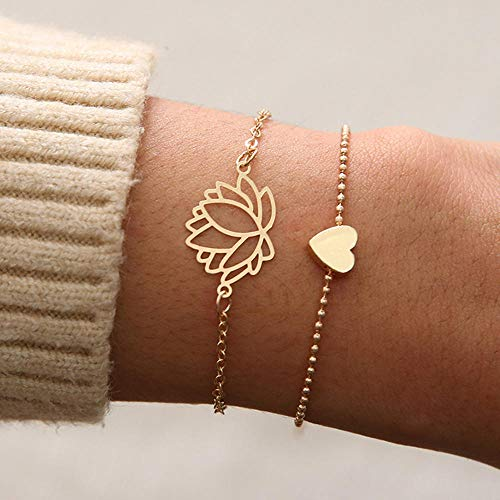 No/Brand 2pcs/Set Charm Romantic Bangles/Bracelet Set For Women Gold Metal Alloy Flowers Heart Link Chain Twist Bangle Jewelry
