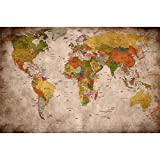 GREAT ART Poster - Mapa del Mundo - (59,4 x 42 cm) Decoración Mural Old School Vintage Mapa del...