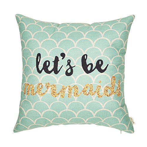 """Fjfz Let's Be Mermaids Motivational Sign Inspirational Quote Cotton Linen Home Decorative Throw Pillow Case Cushion Cover for Sofa Couch, 18"""" x 18"""""""