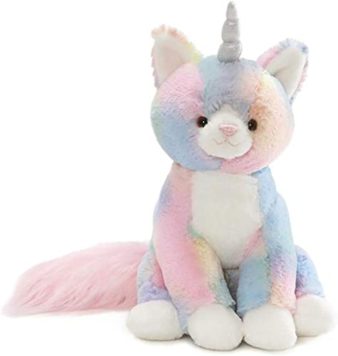 "GUND Rainbow Shimmer Caticorn Plush Stuffed Unicorn Cat, 9"", Multicolor"