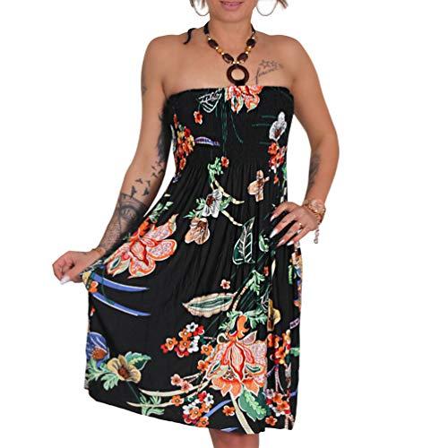 A105 Sommer Bandeau Kleid Holz-Perlen Damen Strandkleid Tuchkleid Tuch Aztec (Schwarz)