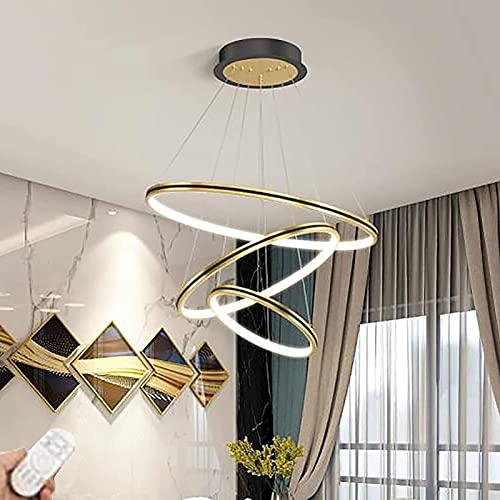 Candelabro LED Dorado con iluminación Colgante Luz de Techo Regulable, candelabro de Anillo liviano de Lujo Moderno, Accesorios de iluminación Art Deco, para Sala de Estar de Hotel