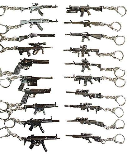 20pcs/Lot Mini Gun AK47 AUG M4A1 M16 MP5 Handgun Sniper Rifle Keychains Key Rings