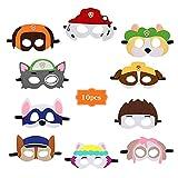 HUYIWEI 10 máscaras de fieltro de animales diferentes,máscaras de patrulla de perros de pata,máscaras de fieltro para niños,Halloween para niños,carnaval,regalos de cumpleaños