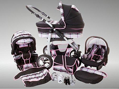 Chilly Kids Dino kinderwagen zomerset (zonnescherm, autostoel & adapter, regenbescherming, muggennet, drankhouder, zwenwiel) 41 zwart & ruiten grijs & naad roze