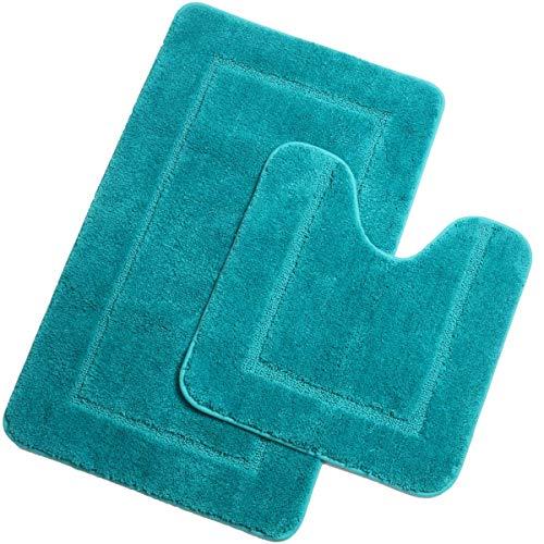 Pauwer Mikrofaser Badematten Set 2 teilig rutschfest Waschbare Badteppich Badvorleger und WC Vorleger Saugfähiges Badezimmerteppich Set(Türkis, 53 x 86 cm + 50 x 50 cm)