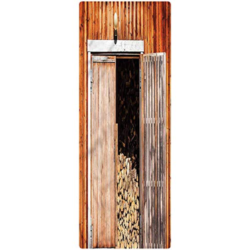 Rustic Runner Rug, 1.3'x4', Barn with Firewood Rural Room Floor Mat Doormat Entrance Rug for Kitchen/Tub/Living Room