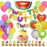 Decoraciones de cumpleaños de Tutti Frutti - Twotti Frutti Banner Segundo cumpleaños Cake Topper Globos en forma de fruta para suministros de la segunda fiesta de cumpleaños