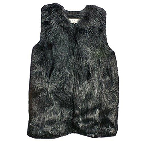 Sebby Collection Women's Faux Fur Fashion Vest (Large, Black)