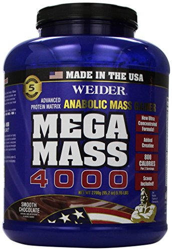 Weider MEGA MASS, Clean Anabolic Mass Gainer Formula, Smooth Chocolate, 5.95lbs