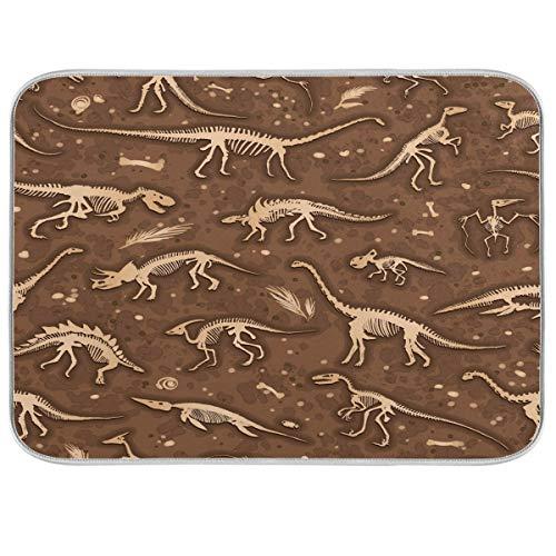 Luckyeah Abtropfmatte mit Dinosaurier-Skeletten, Fossilien, saugfähig, schnell trocknend, für Geschirr, Küche, Theke, Esstisch, Waschbecken, 40,6 x 45,7 cm