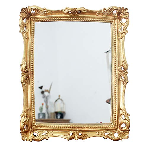 Funly mee Espejo decorativo vintage de 24 x 28 cm, cuadrado de oro antiguo montado en la pared espejo de maquillaje