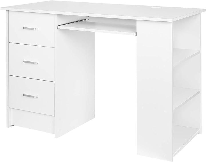 Scrivania computer con cassetti, tavolo porta pc da ufficio casa con tre ripiani (bianco) homfa HPB-067