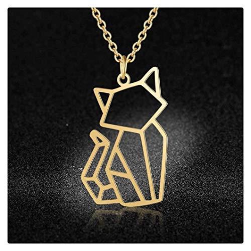Joyería Animal Collares For Las Mujeres De Acero Inoxidable Super Cat Moda Perro Panda Mono Colgante Collar 100% (Metal Color : 45cm Gold JN021)