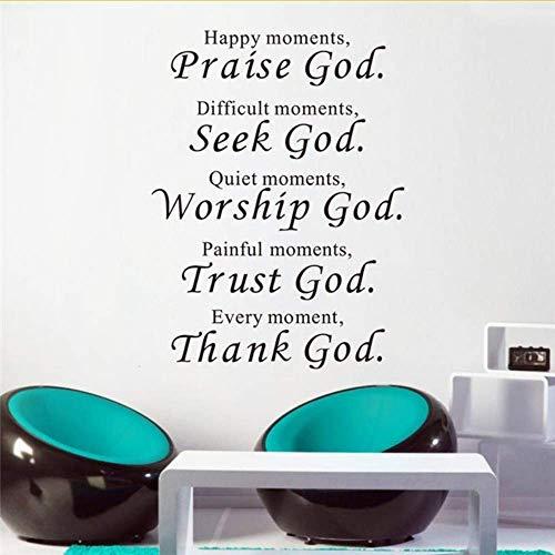 Wandtattoo Zitat Lob Gott Bibelverse Vinyl Aufkleber Christus Dekor Schlafzimmer Schriftzug Worte Wandbild Religiöse Wandtattoos