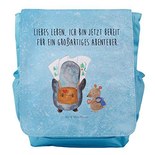 Mr. & Mrs. Panda Rucksack, Kids, Kinderrucksack Pinguin & Maus Wanderer mit Spruch - Farbe Eisblau