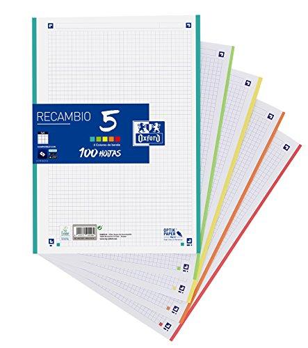 Hojas cuadriculadas A4 Recambio Oxford. Banda 5 colores. 100 Hojas. Cuadrícula 5x5.