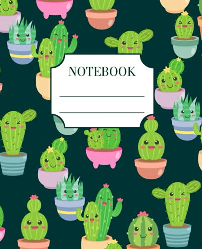 Notebook: Funny Happy Cactus Composition Notebook Wide Ruled Lined Paper Journal, Workbook for Kids, Teens or Students, for Back to School or College Writing Notes.