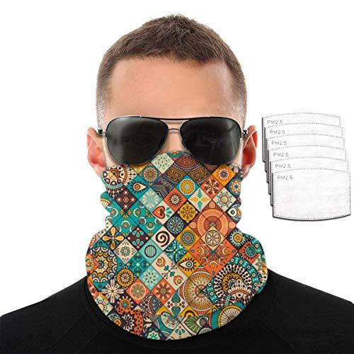 Night-Shop Unisex Vintage Marmor mexikanische Sturmhauben Schal Gesichtsschutz Schild Schutzschal Krawatte mit Filter