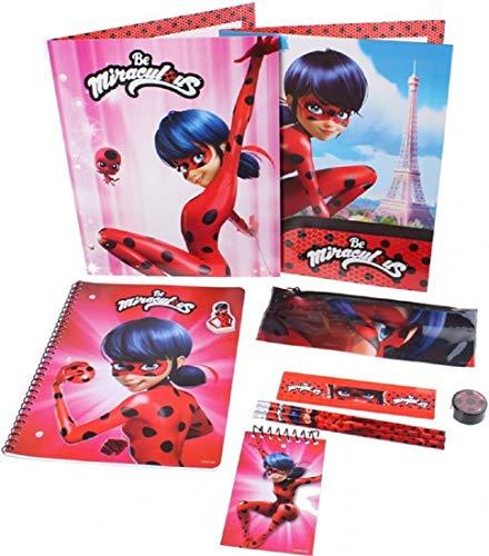 11-teiliges Schreibset, kompatibel zu Miraculous Ladybug | Geschenk für Kinder | Mädchen | Malen | Malstift | Lineal | Anspitzer | Block | Trickfilm