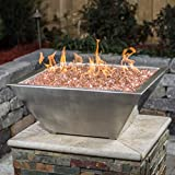 BBQGUYS Signature Series Westfalen 18-Inch Square High-Rise Propane Column Fire Bowl - Stainless Steel (Ships as Natural Gas w/Conversion Kit)