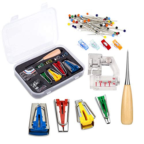 BUTUZE Fabric Bias Tape Makers Kit with Sewing Awl, Positioning Pin, Adjustable Binder Clip,Wooden Awl,Foot Press -Practical Bias Tape Maker Set for Sewing/Quilting