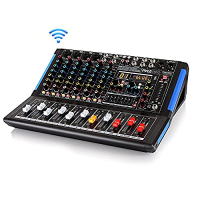8-Channel Bluetooth Studio Audio Mixer - DJ Sound Controller Interface w/ USB Drive for PC Recording Input, XLR Microphone Jack, 48V Power, RCA Input/Output for Professional and Beginners - PMXU88BT by Sound Around