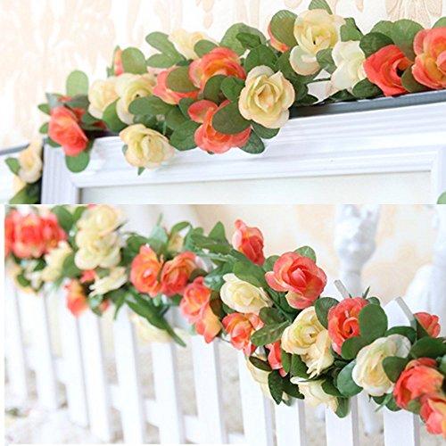 Lot de 2 Faux Rose Guirlande Fleurs Vigne Plantes Artificielles pour maison Mariage Jardin anniversaire Valentine Festival Décoration – Chaud et violet clair (Champagne)