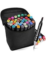 L-JUWA マーカーペン イラストマーカー 油性ペン 80色セット40色セット スケッチブック付き 二つのペン先 プレゼント用 塗り絵、描画、落書き、学習用 収納ケース付き …