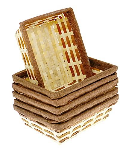 Lashuma 6er Korb Set Rechteckige Bambus Körbchen, Flecht Spankorb Natur, Flaches Aufbewahrungskörbchen 24 x 18 x 7 cm