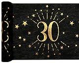 Santex 6787-30-30, Runner da tavolo, età scintillante in metallo, colore: nero/oro, 30 anni