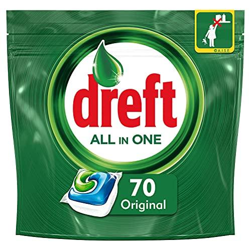Dreft - Pastillas para lavavajillas todo en uno regular, 70 unidades.