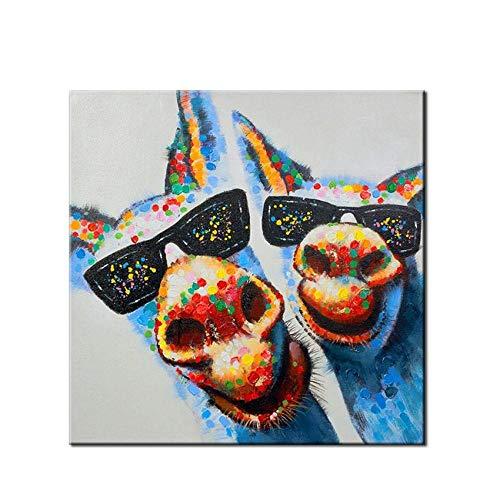 WunM Studio olieverfschilderij op canvas handgeschilderd, modern grappig dierschilderij, 2 kleurrijke ezel met glazen, abstracte luxe grote wand kunst decoratie voor huis woonkamer slaapkamer kantoor hotel 150×150 cm