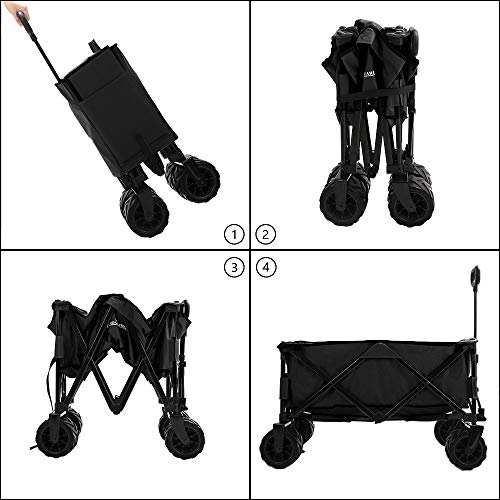 Patio Watcher Collapsible Folding Utility Wagon Cart Outdoor Garden Beach Wagon Camping Shopping Sports Portable Wagon with All Terrain Wheels Large Capacity Heavy Duty, Black