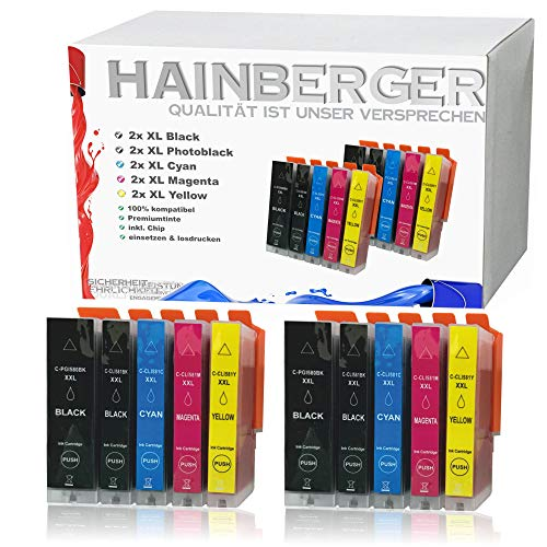 10x Hainberger XXL Patronen kompatibel zu Canon PGI580 CLI581 Pixma TR8550 TS6150 TS6151 TS6250 TS8150 TS8151 TS8152 TS8250 TS9150 TS9155 TS9550 TR7550 PGI-580 CLI-581 …