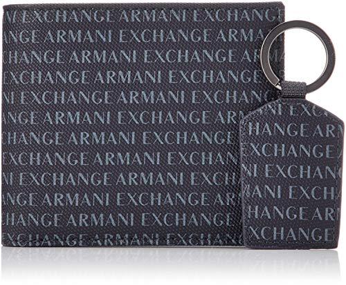 Armani Exchange Wallet And Keyring Set - Portafogli Uomo, Blu (Navy), 10.5x3x19 cm (B x H T)