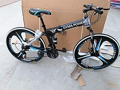 26 inch Adults Folding Mountain Bike for Men Women | High-Carbon Steel Outdoor Exercise Road Bike | 21 Speed Double Disc Brake Full Suspension Anti-Slip MTB (B)