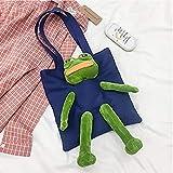 女性用ショルダーバッグ, 女性用の人形キャンバスバッグバッグ, 悲しいカエルの子供用のカバン, 悲しいカエルかわいい豪華なポータブルメッセンジャーバッグ女の子ハンドバッグ, トートバッグ TNFオーガニックコットントート