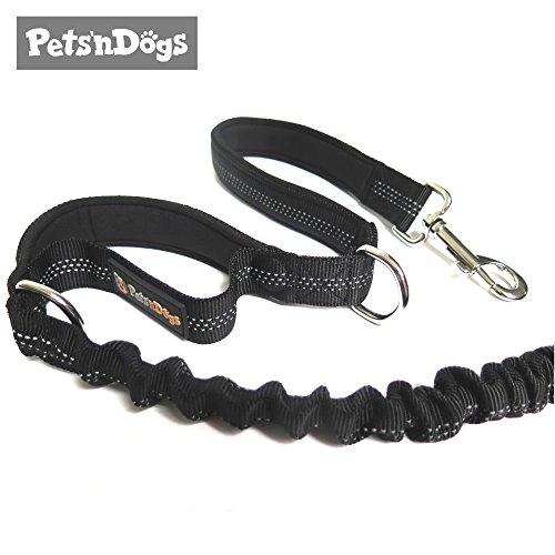 Sportliche Hunde-Leine mit elastischer Ruckdämpfung & Soften Neopren Handschlaufen | Premium-Qualität | 2-stufig einstellbar | Sicherheits-Reflektoren | 2 Gratis Booklets | Pets'nDogs