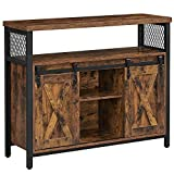 VASAGLE COBADO Dining Sideboard, Kitchen Cupboard, Storage Cabinet, Buffet Table with Adjustable Shelf, Open Compartment, Industrial TV Console for Living Room, Rustic Brown and Black ULSC092B01