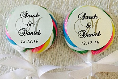 """210 SILVER FOIL Circle 1.5"""" Lollipop or Favor Box LABELS Personalized MONOGRAM STICKERS for WEDDING PARTY OR EVENT"""