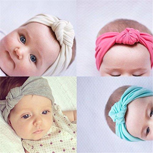 Fascia per capelli per bebè, unisex, con fiocco, elastica, colore casuale, set da 8 pezzi