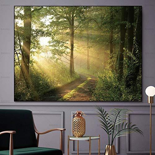 N / A Wandkunst Bild abstrakte Leinwand Malerei Wald Wand Ölgemälde Leinwand auf Leinwand drucken Wohnzimmer rahmenlose Leinwand Malerei A25 60x90cm