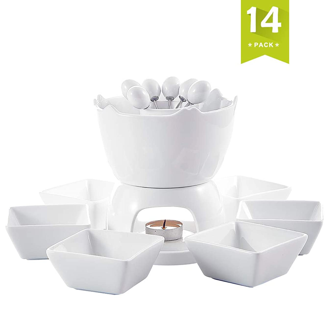Malacasa FAVOR-003 Two-layer Ceramic Porcelain Tealight Candle Cheese Butter Chocolate Fondue Set with 6 Dipping Bowls 6 Forks, 9 x 7 x 6 inches, Ivory White