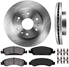 CRK14071 FRONT 330mm Premium OE 6 Lug [2] Brake Disc Rotors + [4] Ceramic Brake Pads + Clips [ fit Cadillac Chevy GMC ]