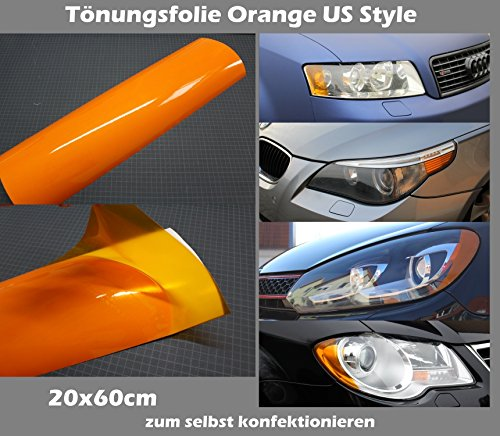Finest Folia Scheinwerferfolie Tönungsfolie US Style Folie Blinker Nebelscheinwerfer Tint Film (Orange)